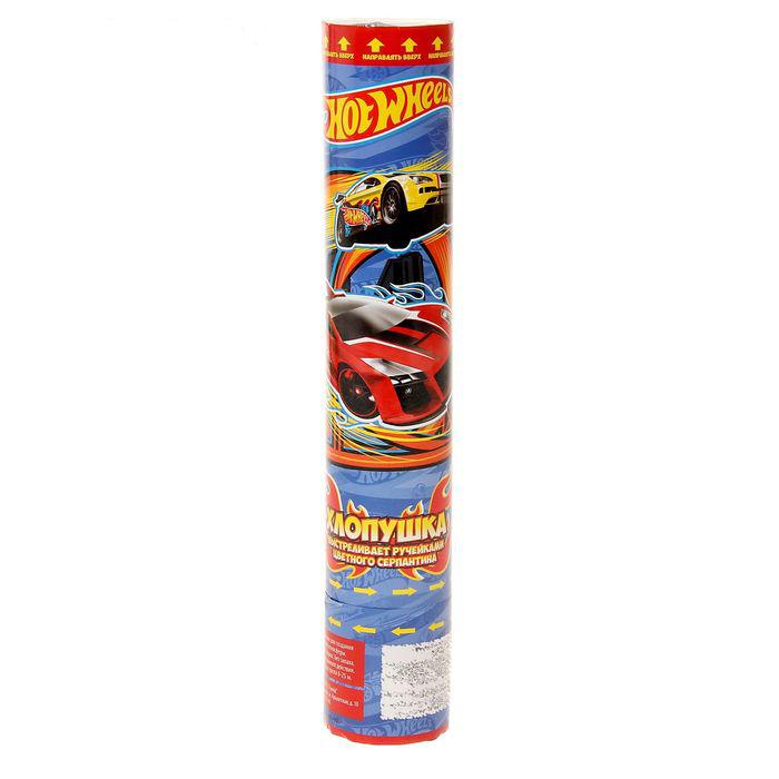 Пневматическая хлопушка - Hot Wheels, 30 см, выстреливает бумажными фигуркамиХлопушки<br>Пневматическая хлопушка - Hot Wheels, 30 см, выстреливает бумажными фигурками<br>
