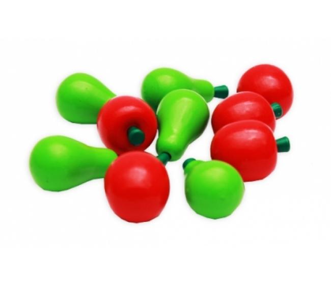 Набор деревянных игрушек - Учимся считать - Яблоки и груши, 12 штук, Рыжий Кот  - купить со скидкой