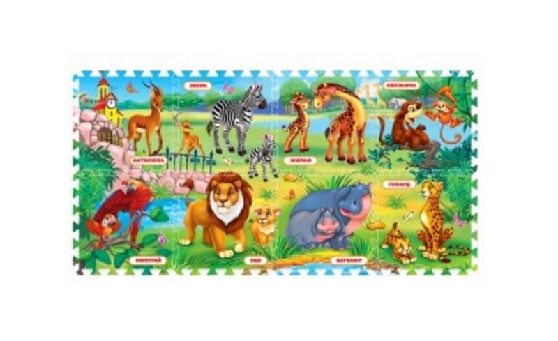 Купить Коврик-пазл Зоопарк, 8 сегментов, Играем вместе