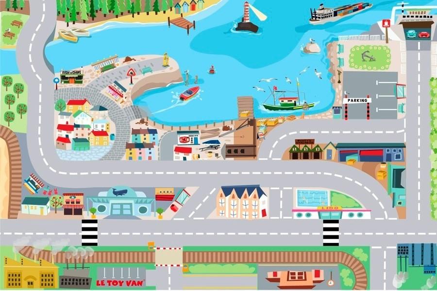 Детский игровой коврик «В порту»Детские парковки и гаражи<br>Детский игровой коврик «В порту»<br>