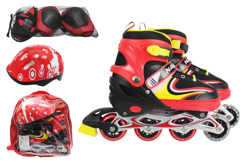 Купить Коньки роликовые, колеса пвх, передние колеса со светом, размер S 30-33, красные, в комплекте с защитой и шлемом, 1TOY