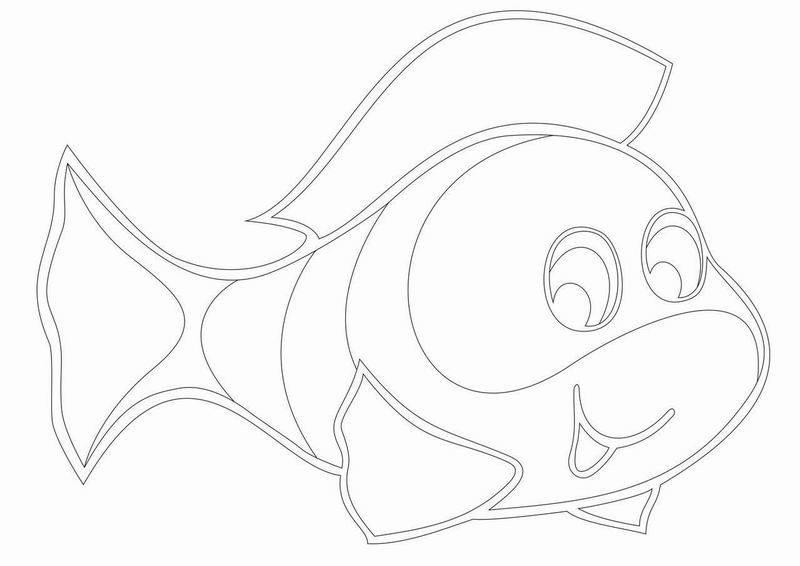 Трафарет для рисования песком Картина A4 – Рыбка