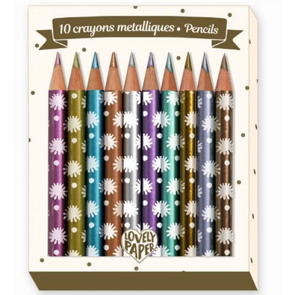 Набор карандашей металлик, 10 штук