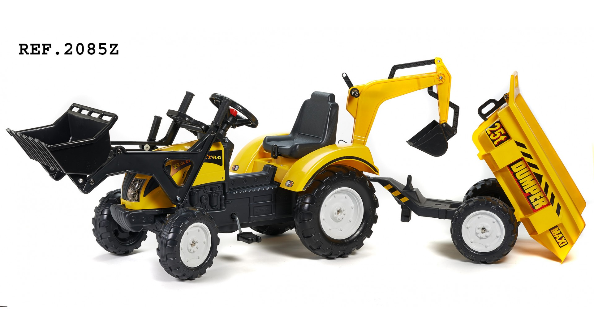 Трактор-экскаватор педальный с прицепом, желтый 219 см - Педальные машины и трактора, артикул: 168970