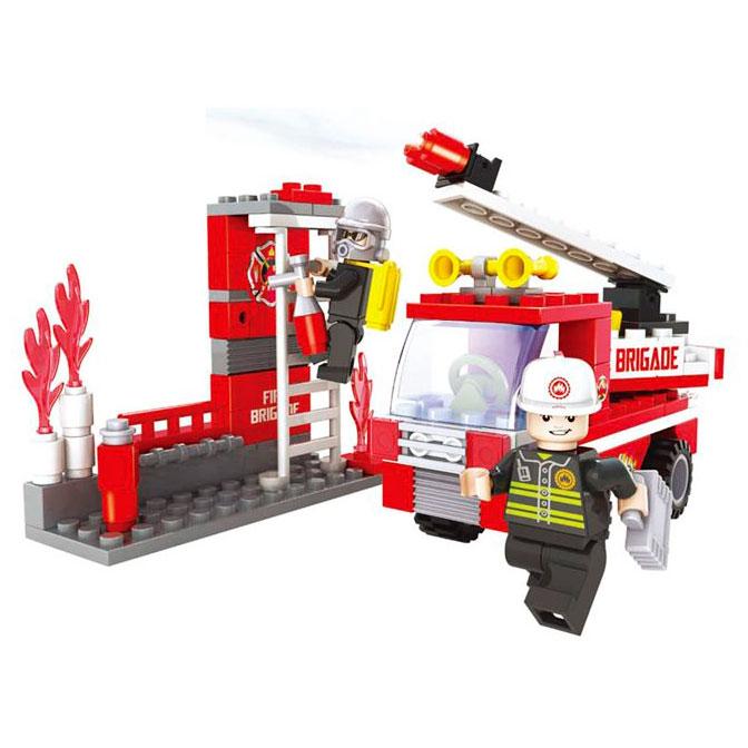 Конструктор Пожарная бригада - Пожарная машина, 133 деталиКонструкторы других производителей<br>Конструктор Пожарная бригада - Пожарная машина, 133 детали<br>