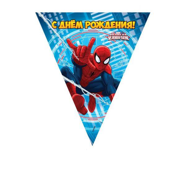 Праздничная гирлянда – флаги, дизайн Человек-Паук, 3 метраЧеловек Паук<br>Праздничная гирлянда – флаги, дизайн Человек-Паук, 3 метра<br>