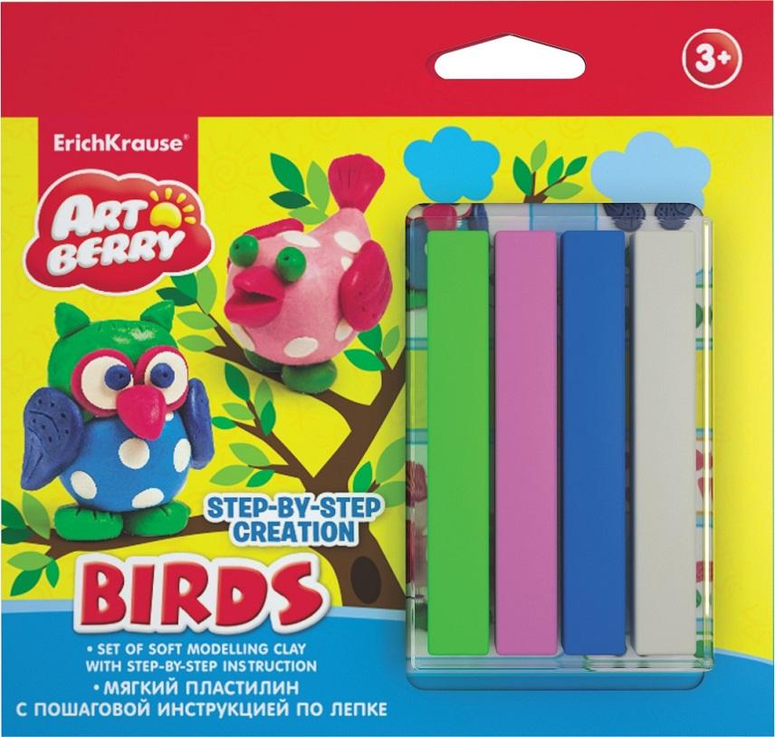 Купить Набор для лепки - Птицы с мягким пластилином 4 цветов и пошаговой инструкцией, Erich Krause