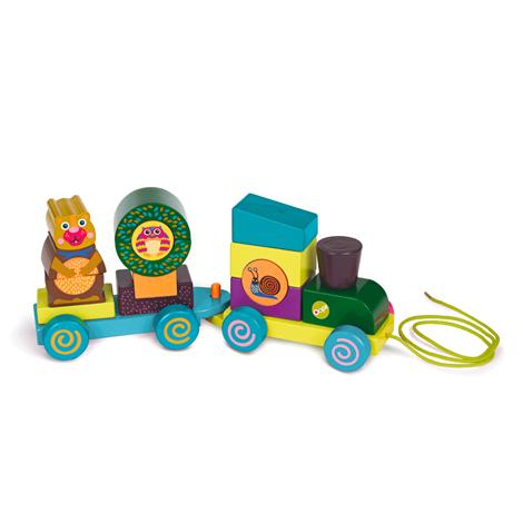 Каталка-паровозик с веревочкой Лес - Железная дорога для малышей, артикул: 119435
