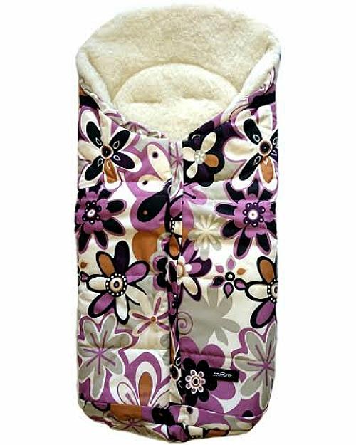 Спальный мешок в коляску №12 из серии Wintry, дизайн – фиолетовые цветы - Прогулки и путешествия, артикул: 171091