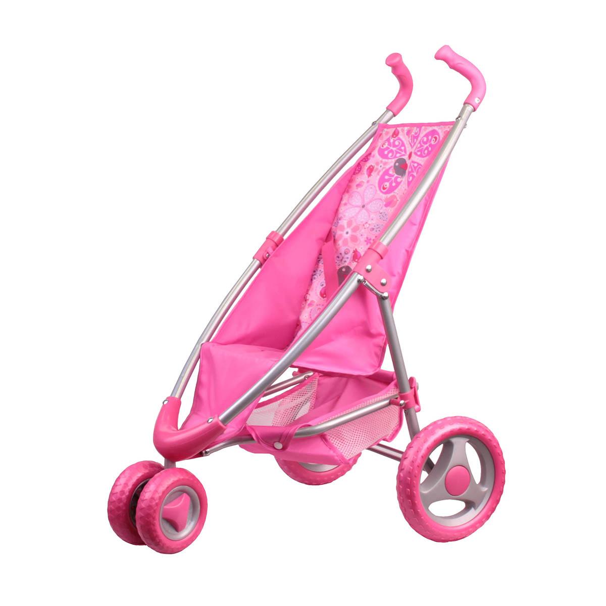 Коляска прогулочная розовая с поворотными передними колесамиКоляски для кукол<br>Коляска прогулочная розовая с поворотными передними колесами<br>