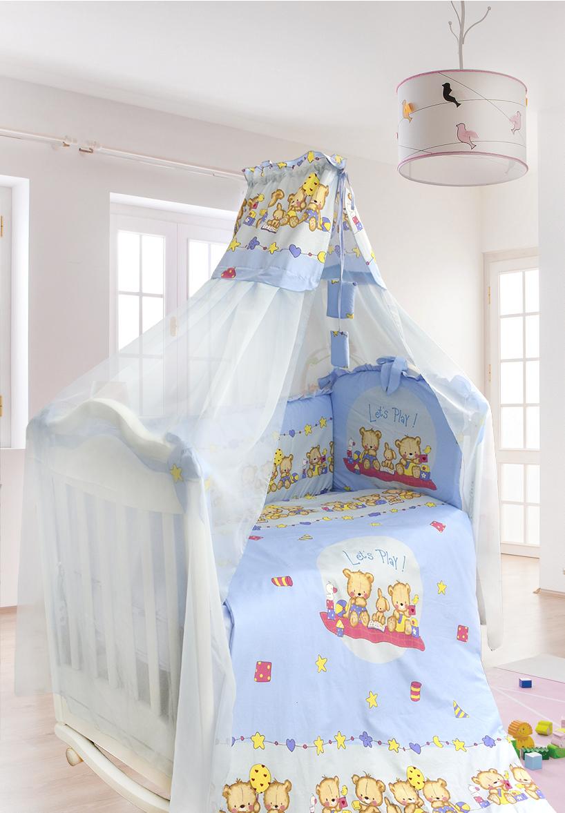 Комплект в кроватку - Давай поиграем, 7 предметов, голубойДетское постельное белье<br>Комплект в кроватку - Давай поиграем, 7 предметов, голубой<br>