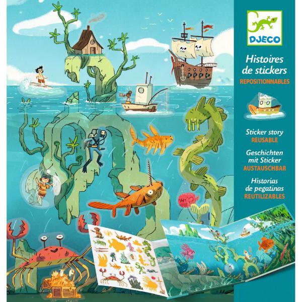 Купить Набор с наклейками - Путешествие по морю, 50 стикеров, Djeco