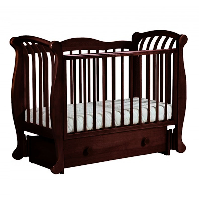 Кровать детская Лель БИ 555.3 Магнолия маятник продольный, махагон