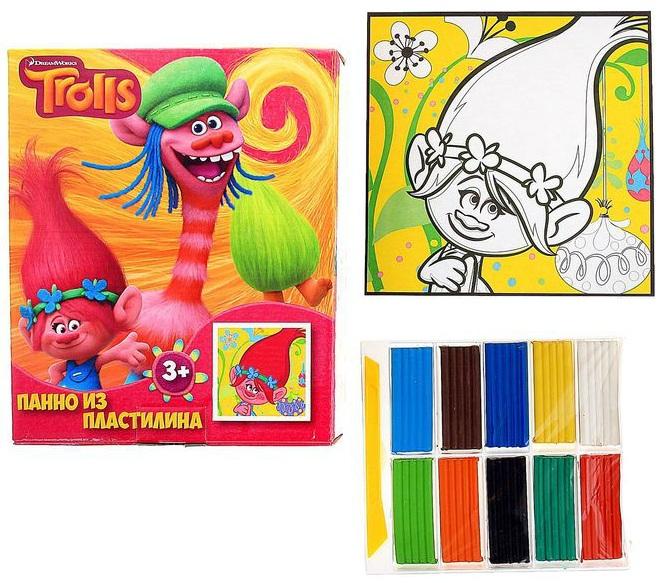 Панно из пластилина - Тролли, пластилин 10 цветов+стек+картинкаНаборы для лепки<br>Панно из пластилина - Тролли, пластилин 10 цветов+стек+картинка<br>