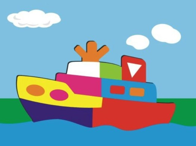 Купить Деревянный пазл в рамке – Кораблик, Wooden Toys