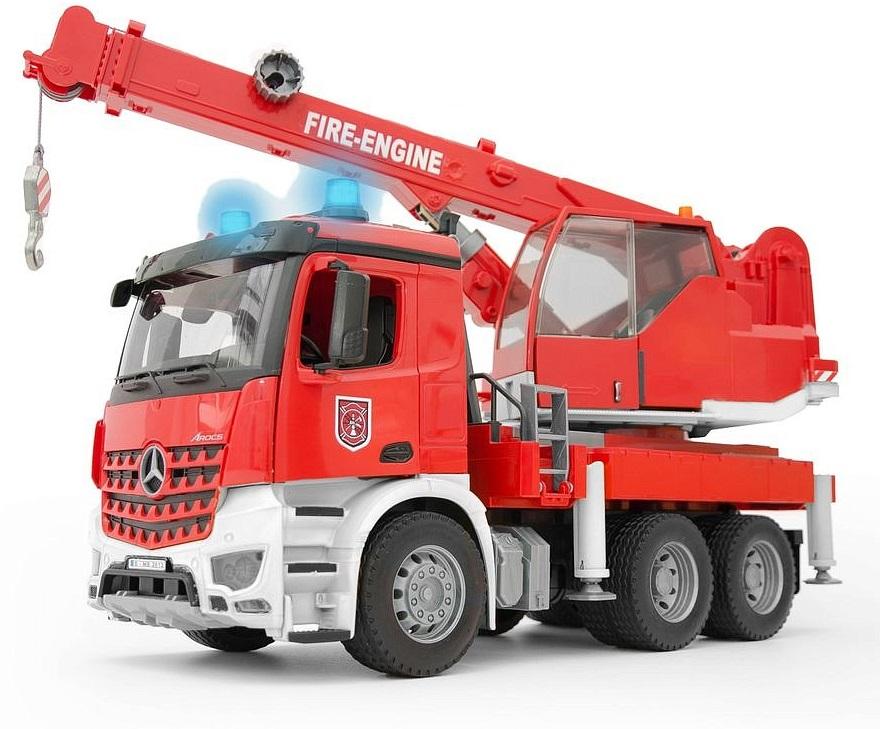 Купить Пожарная машина - Автокран MB Arocs с модулем со световыми и звуковыми эффектами, Bruder