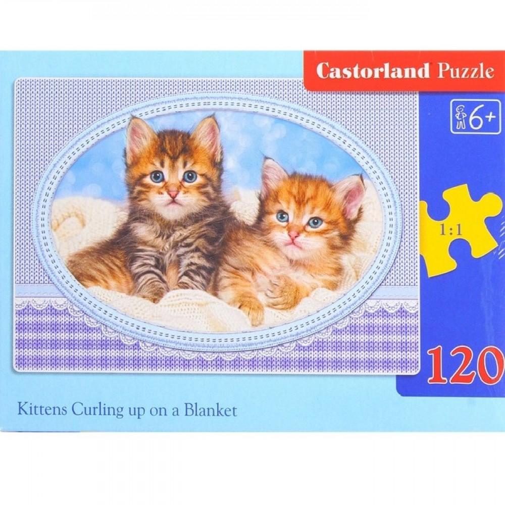 Купить со скидкой Пазл - Котята на одеяле, 120 midi элементов