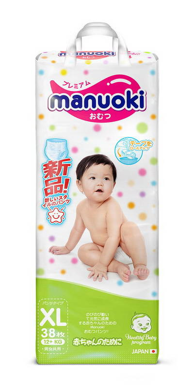 Трусики-подгузники Manuoki, размер XL, 12+ кг, 38 шт