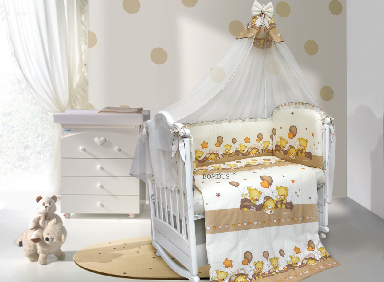 Комплект в кроватку - Мишутки, 7 предметовДетское постельное белье<br>Комплект в кроватку - Мишутки, 7 предметов<br>