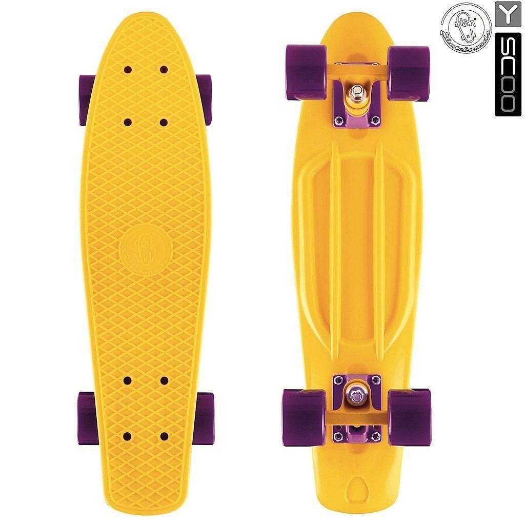 Скейтборд виниловый Y-Scoo Fishskateboard 22 401-Y с сумкой, желто-фиолетовыйДетские скейтборды<br>Скейтборд виниловый Y-Scoo Fishskateboard 22 401-Y с сумкой, желто-фиолетовый<br>