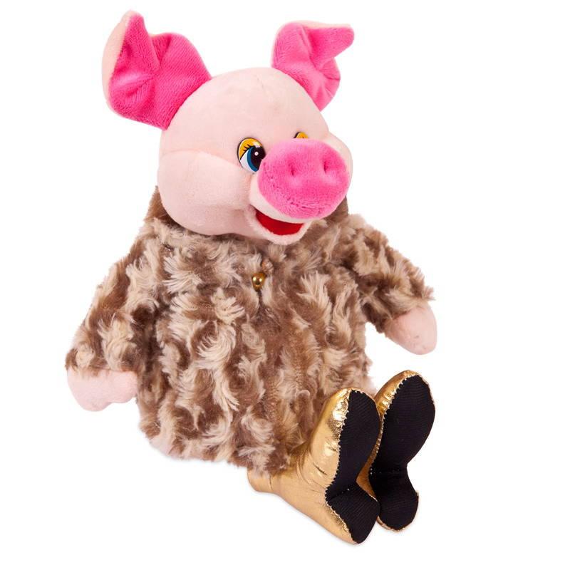 Купить Мягкая игрушка - Свинка в золотых туфлях и коричневой шубке, 17 см, Chuzhou Greenery Toys Co