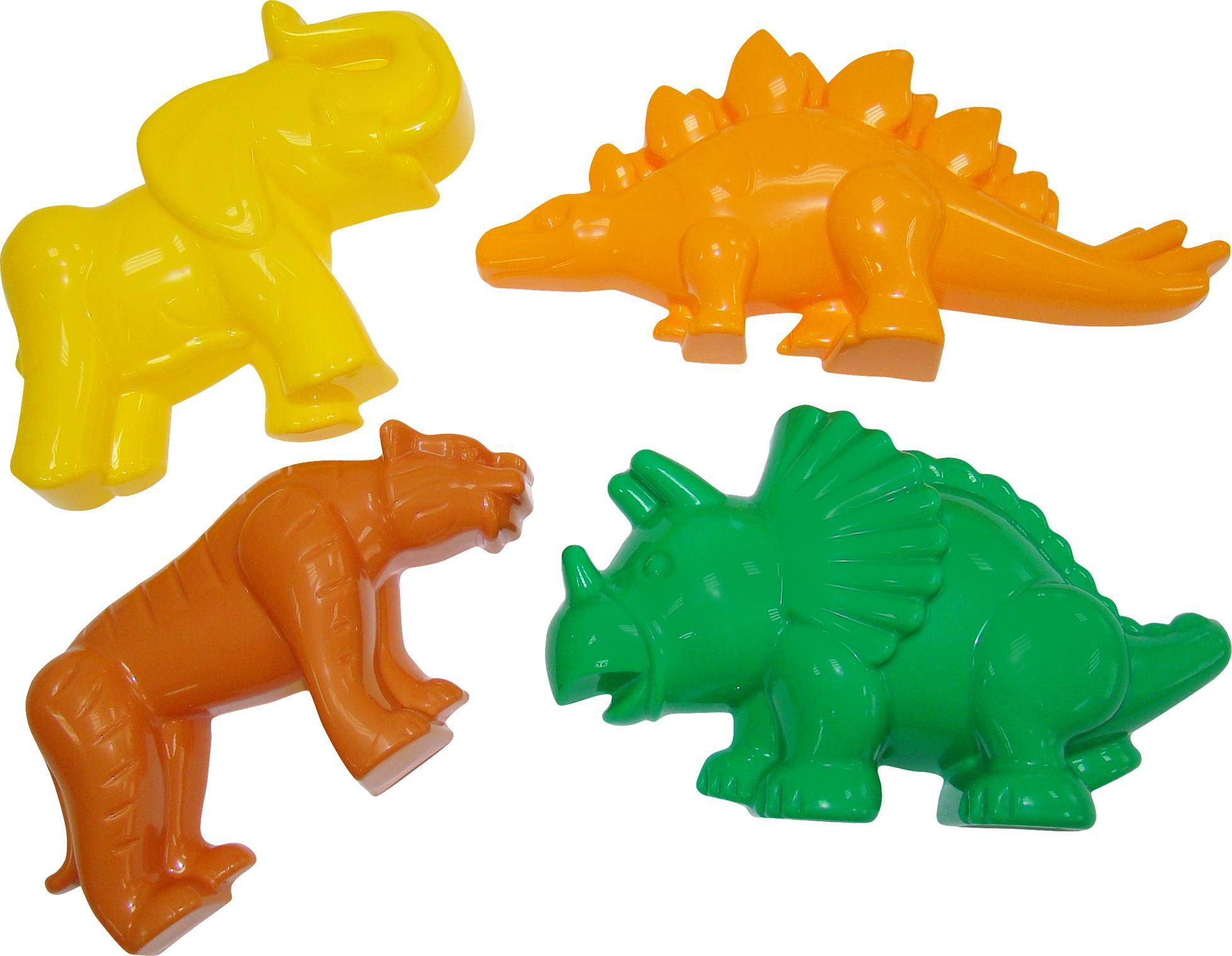 Формочки: тигр, мамонт и 2 динозавраВсе для песочницы<br>Формочки: тигр, мамонт и 2 динозавра<br>