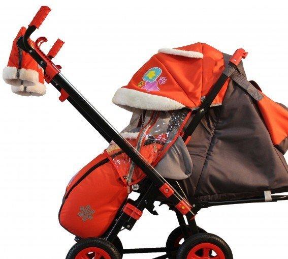 Купить Санки-коляска Snow Galaxy - City-2-1- Мишка со звездой на розовом, на больших надувных колесах, сумка, варежки, RT
