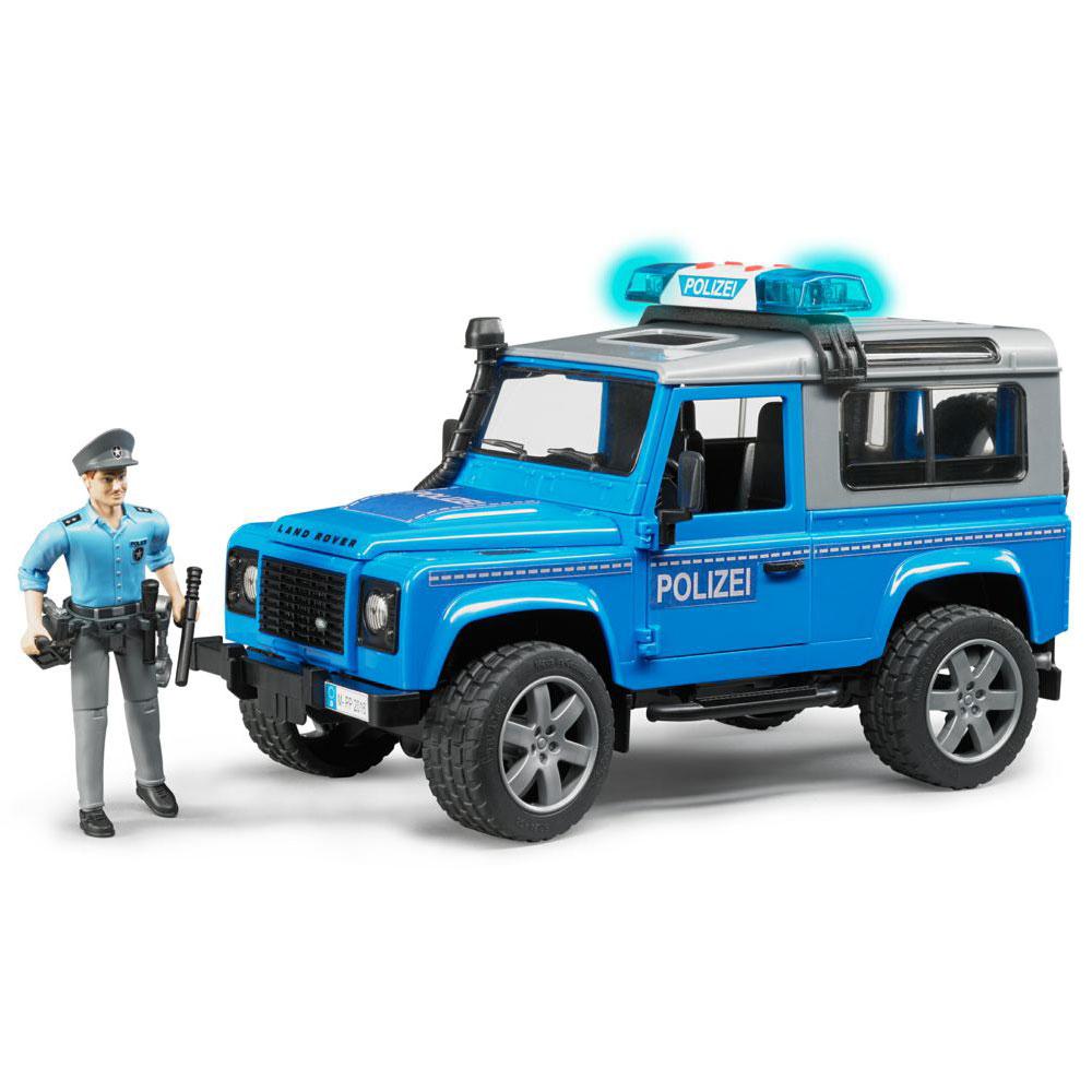 Полицейский внедорожник Bruder Land Rover Defender Station Wagon с фигуркойЭвакуаторы и внедорожники<br>Полицейский внедорожник Bruder Land Rover Defender Station Wagon с фигуркой<br>
