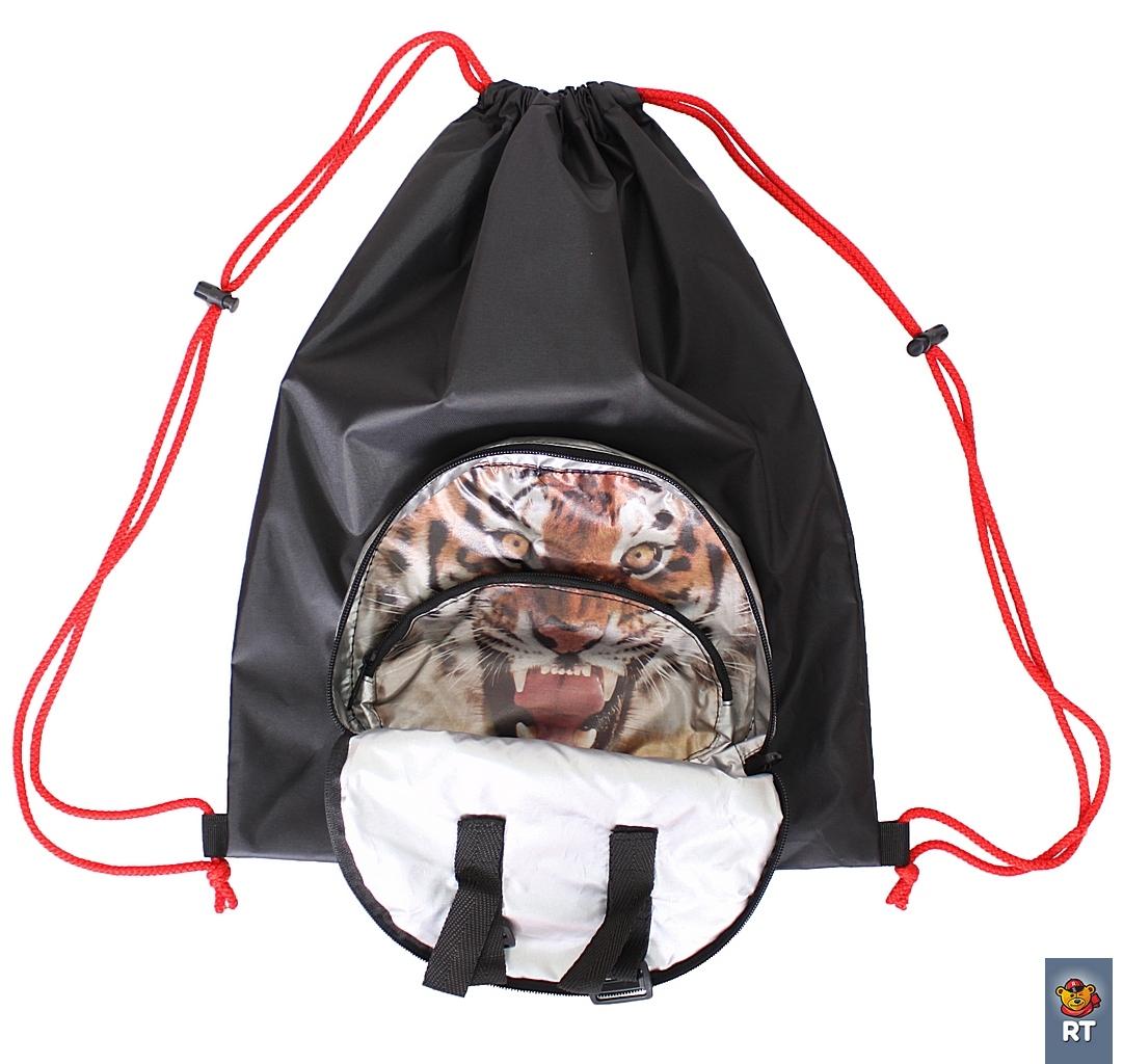 Мешок-рюкзак складной RT, на самокат и велосипед – Тигр фото