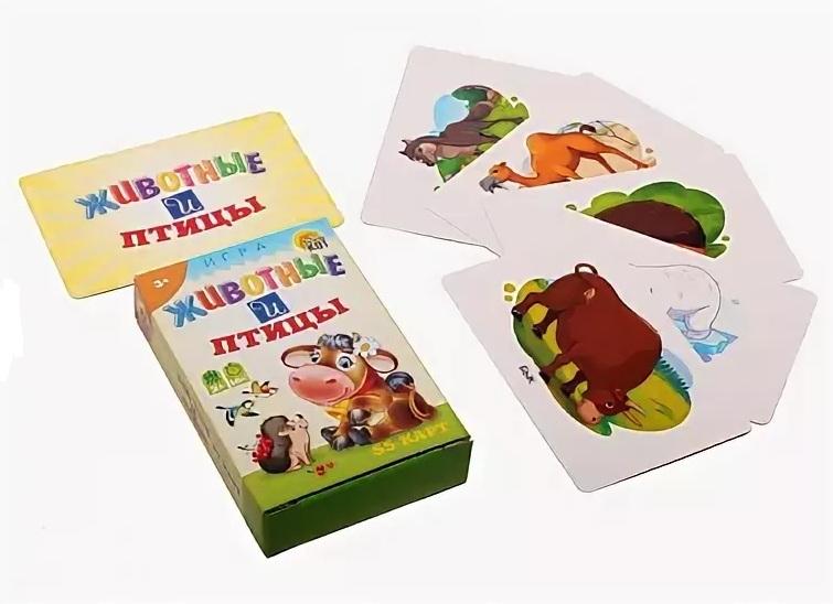 Купить Игра карточная обучающая - Животные и Птицы, Рыжий Кот