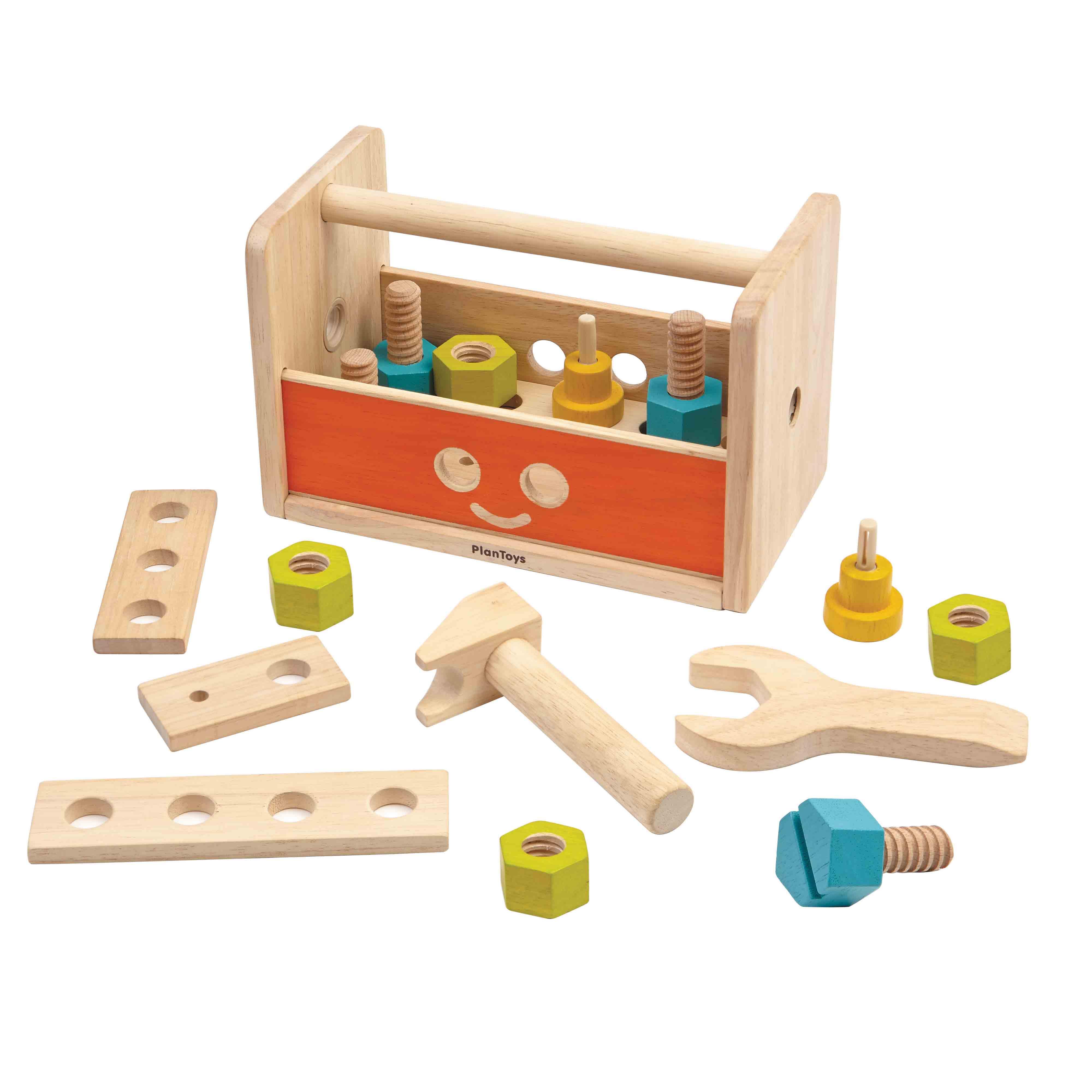 Купить Набор инструментов в ящике – Робот, 16 предметов, Plan Toys
