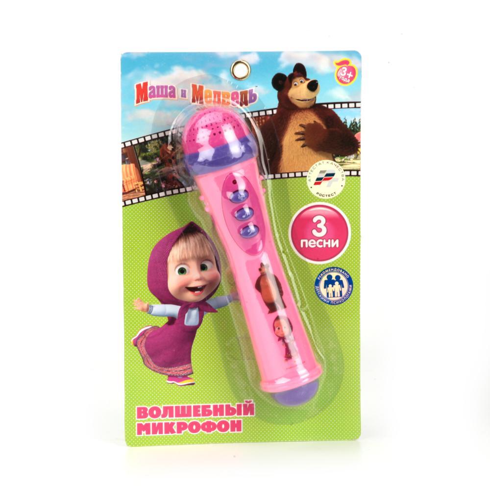 Купить со скидкой Игрушечный микрофон – Маша и Медведь, 3 песни, звук