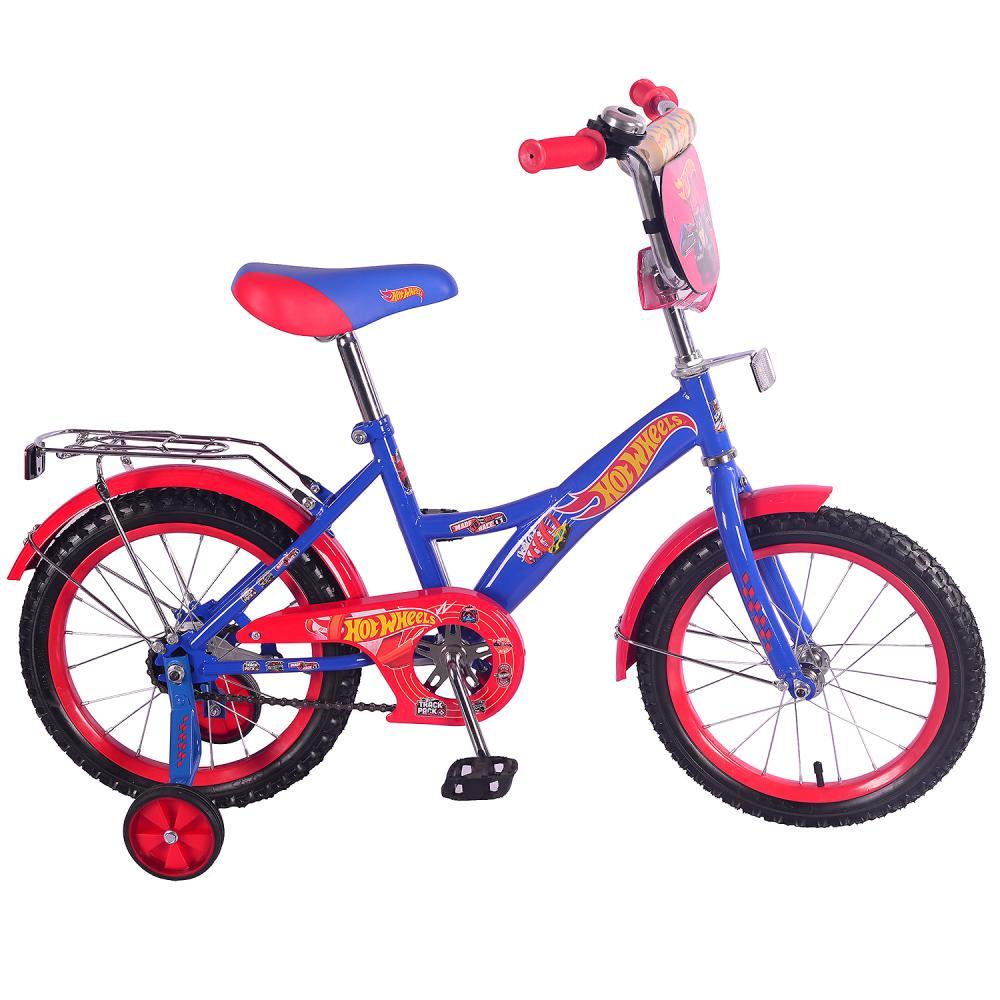 Купить Детский велосипед – Hot Wheels, колеса 16 дюйм, GW -тип, багажник страховочные колеса, звонок, сине-красный, Mustang