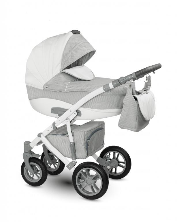 Детская коляска Camarelo Sirion 2 в 1, светло-серая с ромбамиДетские коляски 2 в 1<br>Детская коляска Camarelo Sirion 2 в 1, светло-серая с ромбами<br>