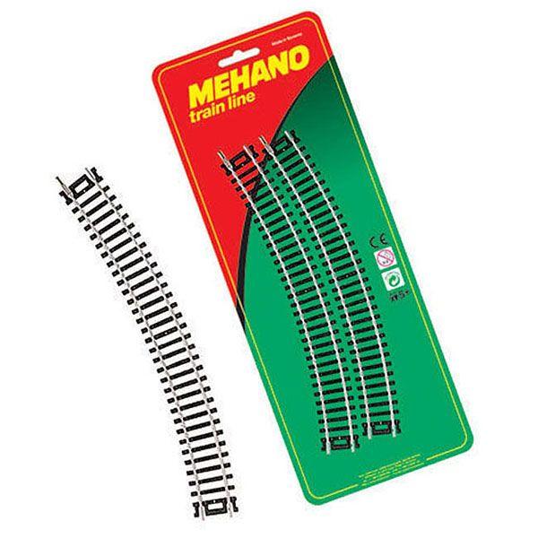 Рельсы Mehano: Набор радиальных рельс, масштаб HO, 16,5 мм.Детская железная дорога<br>4 радиальных отрезка железнодорожного полотна. <br>Угол поворота каждого отрезка 30 градусов, радиус - 457.2 мм.<br>Масштаб HO 1:87, ширина колеи 16.5 мм.<br>Производитель: Mehano (Словения)<br>