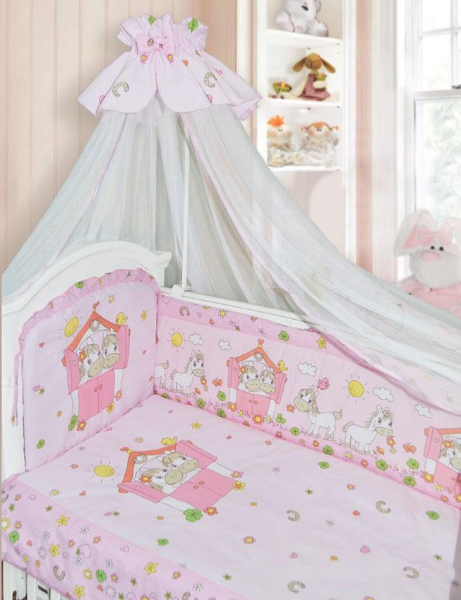 Комплект в кроватку – Лошадки, 7 предметов, розовыйДетское постельное белье<br>Комплект в кроватку – Лошадки, 7 предметов, розовый<br>