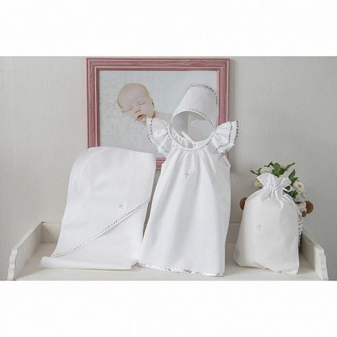 Крестильный набор для девочки – Пелагея, 4 предмета, 9-12 месяцев, белый/серебро