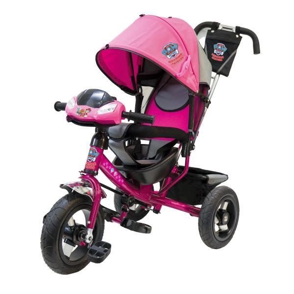 Велосипед 3-х колесный - Щенячий патруль, надувные колеса диаметром 30 и 25 см, светомузыкальная панель, большое сиденье, регулируемая спинкаВелосипеды детские<br>Велосипед 3-х колесный - Щенячий патруль, надувные колеса диаметром 30 и 25 см, светомузыкальная панель, большое сиденье, регулируемая спинка<br>