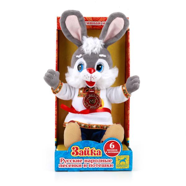Мягкая игрушка – заяц в русской одежде, озвученный, 6 песен, 15 см. от Toyway