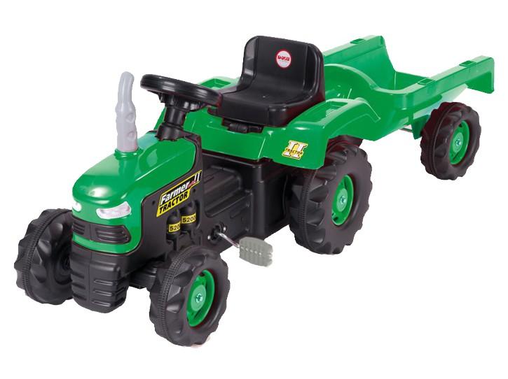 Педальный трактор с прицепом - зелено-черный
