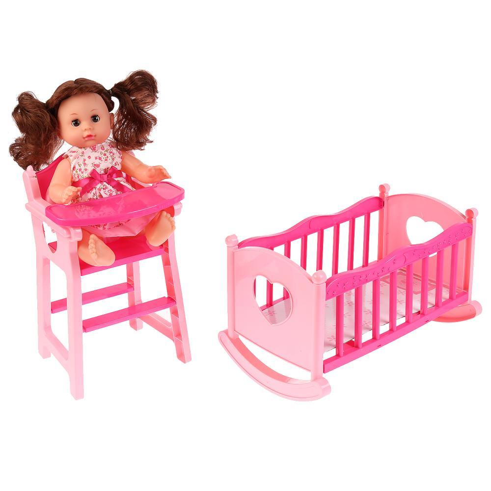 Кроватка-качалка и стульчик для кормления с куклой фото