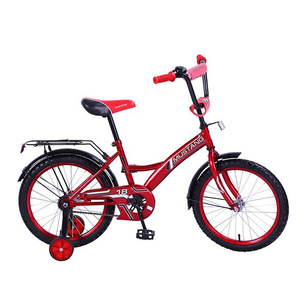 Велосипед детский – Mustang, красно-черный со страховочными колесамиВелосипеды детские<br>Велосипед детский – Mustang, красно-черный со страховочными колесами<br>