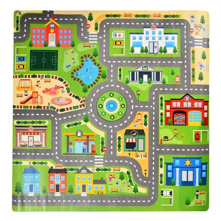 Купить Коврик в рулоне – Город, размер 92 х 92 х 0, 3 см. 3053R, ЯиГрушка