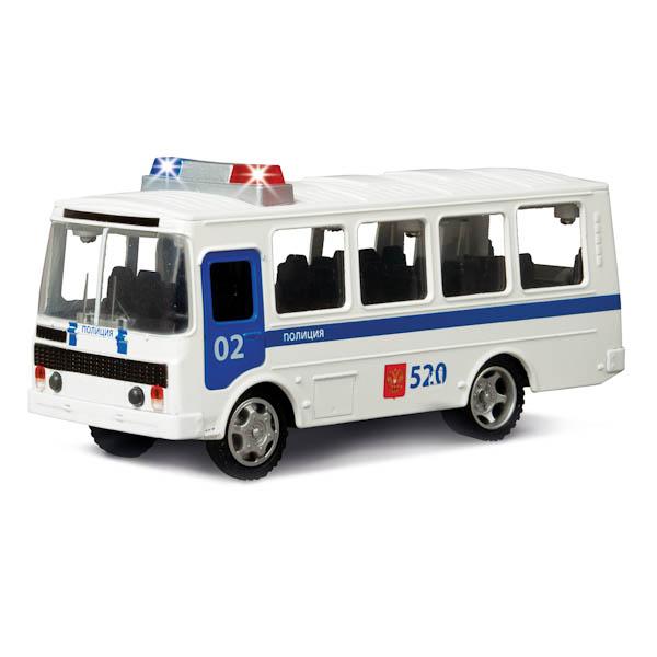Инерционная машина металлическая ПАЗ 3205 -Полиция, свет, звук 1:43Полицейские машины<br>Инерционная машина металлическая ПАЗ 3205 -Полиция, свет, звук 1:43<br>