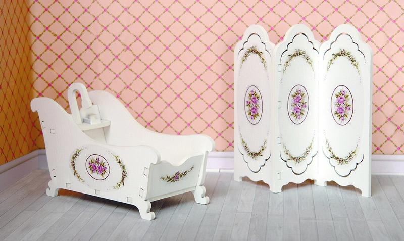 Купить Набор мебели для кукольного дома - Ванная комната: ванна, ширма, коллекция Прованс, ЯиГрушка