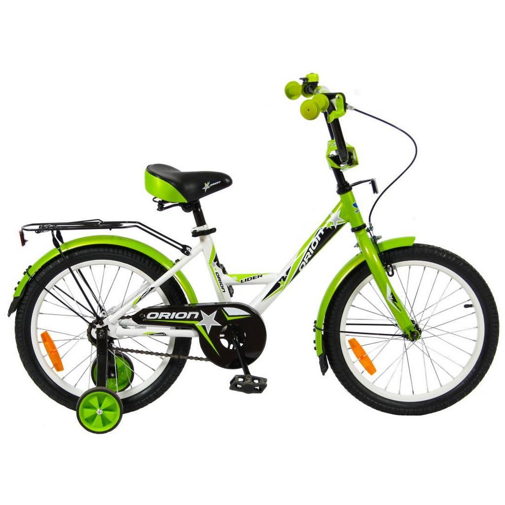 Двухколесный велосипед Lider Orion диаметр колес 18 дюймов, белый/зеленыйВелосипеды детские<br>Двухколесный велосипед Lider Orion диаметр колес 18 дюймов, белый/зеленый<br>