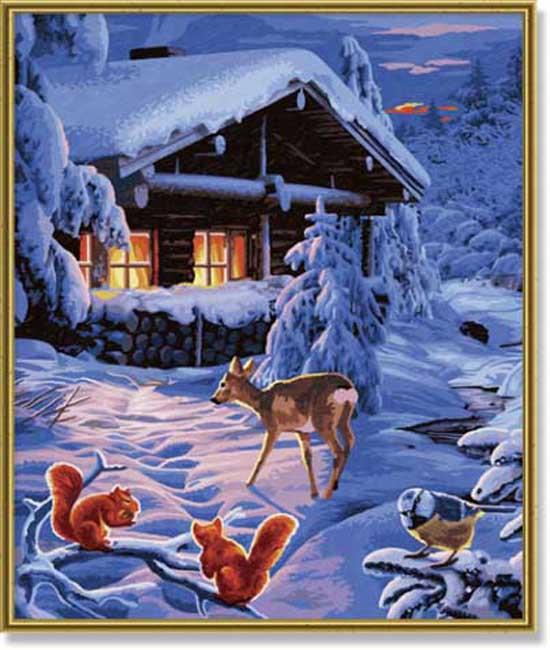 Картина Романтическая зимняя ночь, 40х50Раскраски по номерам Schipper<br>Картина Романтическая зимняя ночь, 40х50<br>