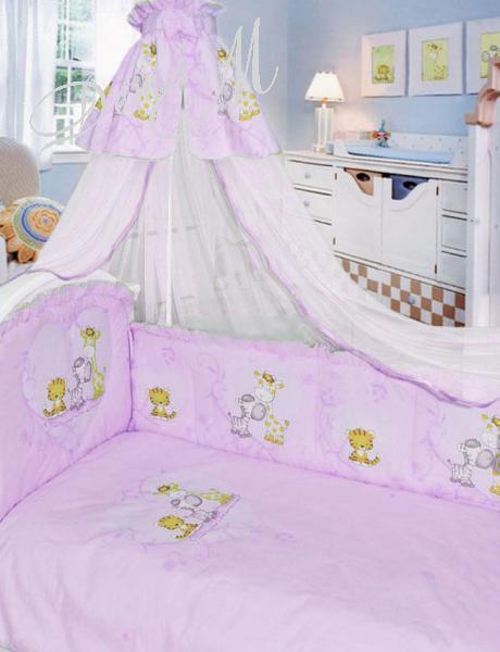Комплект в кроватку 7 предметов – Сафари, розовыйДетское постельное белье<br>Комплект в кроватку 7 предметов – Сафари, розовый<br>