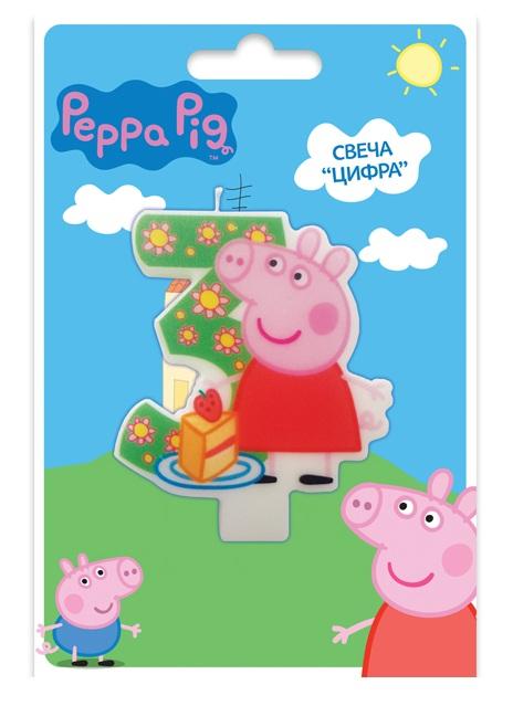 Свеча объемная 3 года Peppa PigСвинка Пеппа (Peppa Pig )<br>Свеча объемная 3 года Peppa Pig<br>
