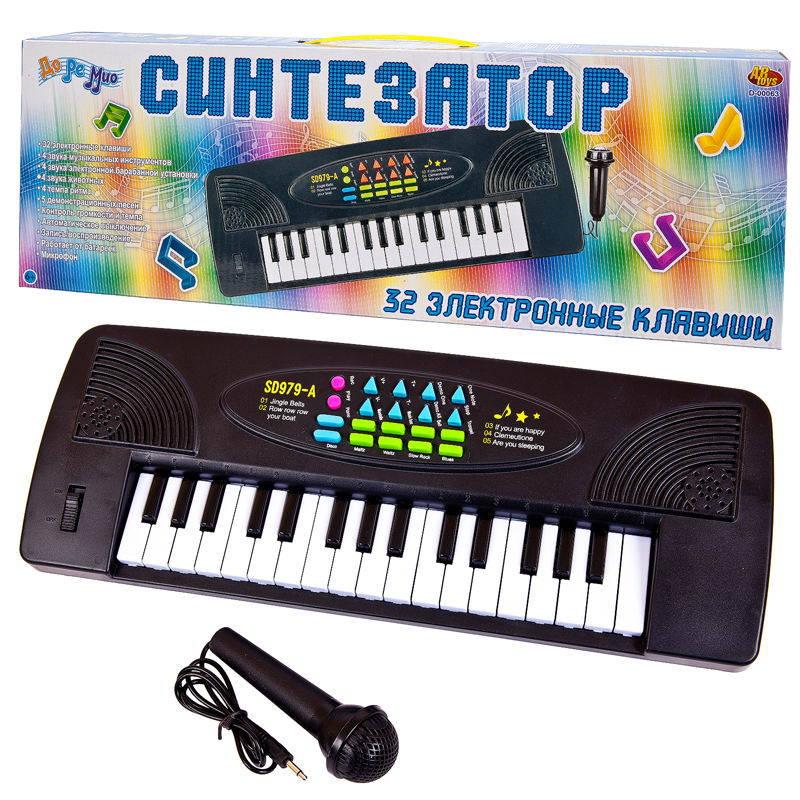 Купить Синтезатор черный 32 клавиши, с микрофоном, электро механический, работает от батареек, ABtoys